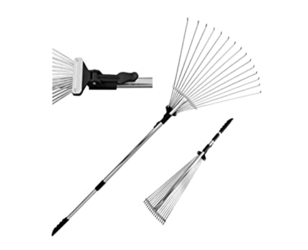 Metal Rake, 63 Inch Adjustable Folding Leaves Rake for Quick Clean Up of Lawn and Yard, Garden Leaf Rake, Expanding Handle with Adjustable 8-23 Inch Width Folding Head. - Celi's Secret