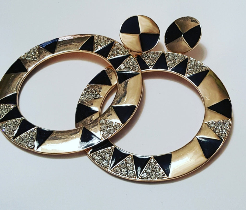 Black & Gold Hoop Earring - Celi's Secret