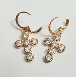 Gold Diamond Cross Earrings - Celi's Secret