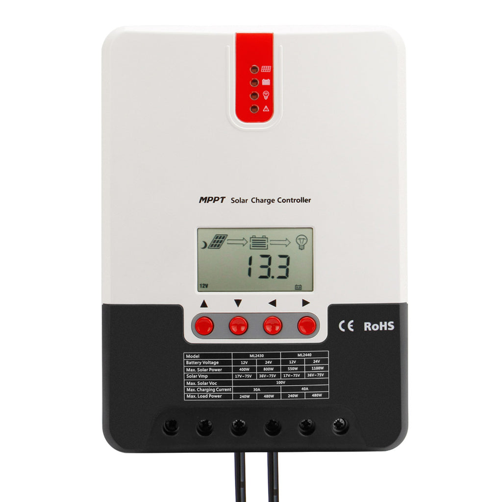 Solar charge controller MPPT 40A 12V/24V fit for gel, lead-acid, lithium battery, sealed, flood, etc
