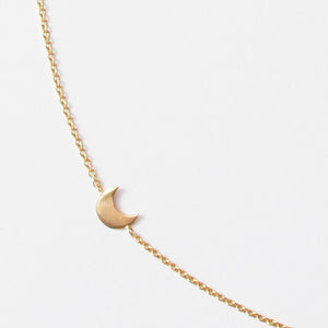 Crescent Moon Off Center 14k Necklace