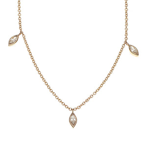 Marquise Trio Diamond 14k Necklace