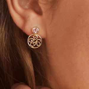 14k Filigree Charm Tourmaline Post Earrings