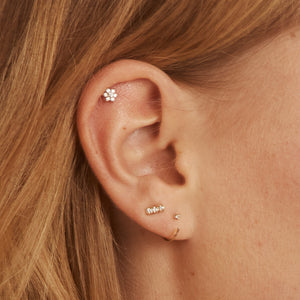 Pave Diamond Bar 14k Stud