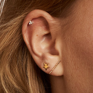 Long Rope Bar 14k Stud