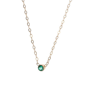 Emerald Solitaire 14k Gold Necklace