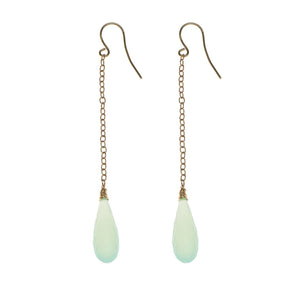 Chalcedony Green Drop Earrings 14k
