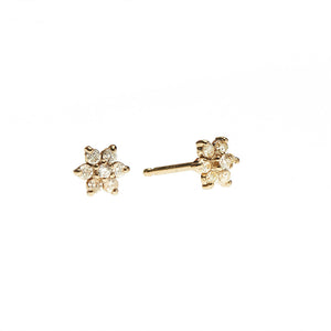 White Diamond Flower Earrings