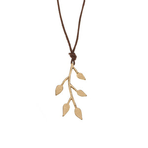 Olive Branch Leather Necklace