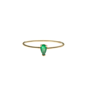 Emerald Pear 14k Ring