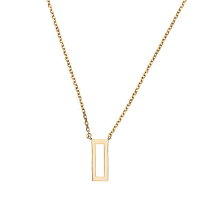 Tiny Rectangle Necklace 14k