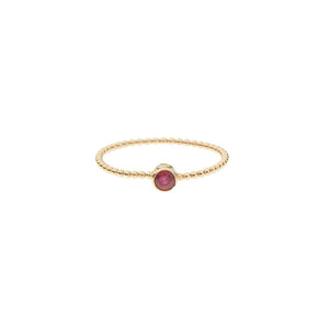 Ruby Bezel Beaded Ring