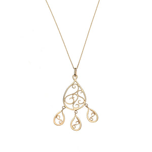 Teardrop Charms  Filigree Necklace