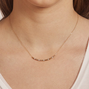 Bar Diamond Necklace 14k