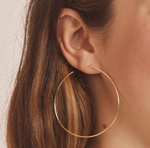 Large Gold Hoop Post earrings