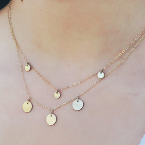 Disk Trio 14k  Necklace