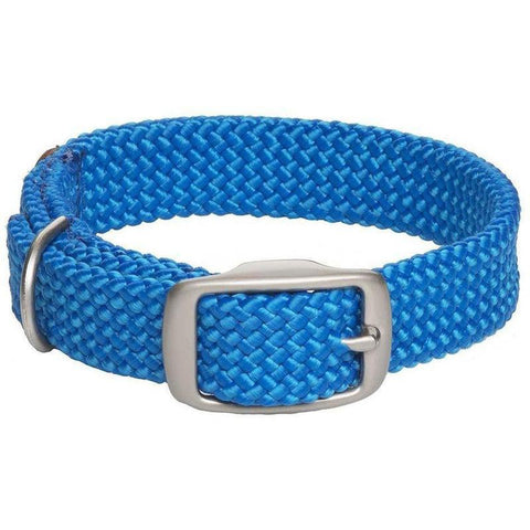 Mendota Double Braid Small Dog or Puppy Collars - Blue with Satin Hardware - Furevables Pet Boutique