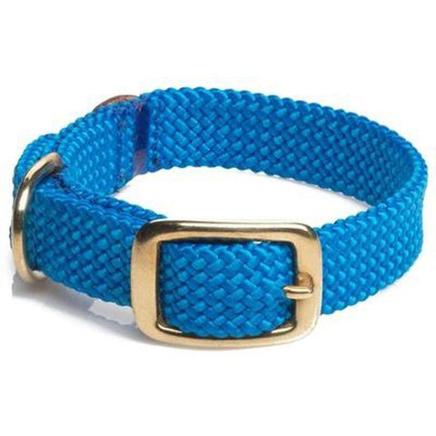 Mendota Double Braid Small Dog or Puppy Collars - Blue with Brass Hardware - Furevables Pet Boutique