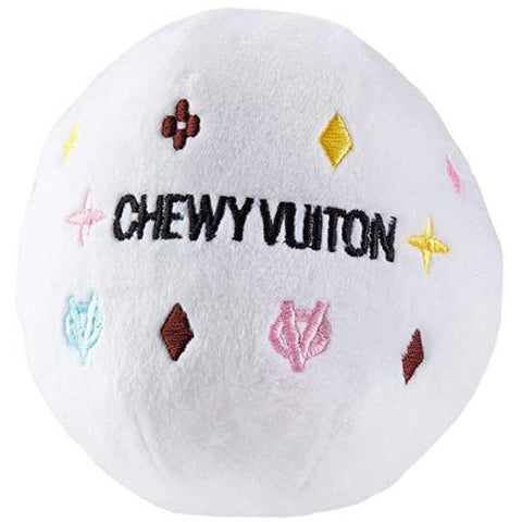 Chewy Vuiton Ball Plush Dog Toy - Furevables Pet Boutique