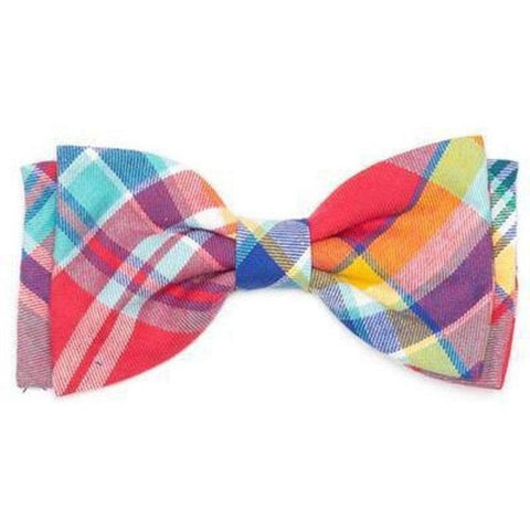 Coral Plaid Bowtie - Furevables Pet Boutique