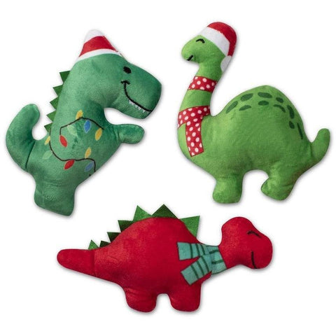 Jurassic Christmas Plush Dog Toy 3-Pack - Furevables Pet Boutique
