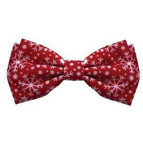 Christmas Holiday Bowtie - Snowflakes Large - Furevables Pet Boutique