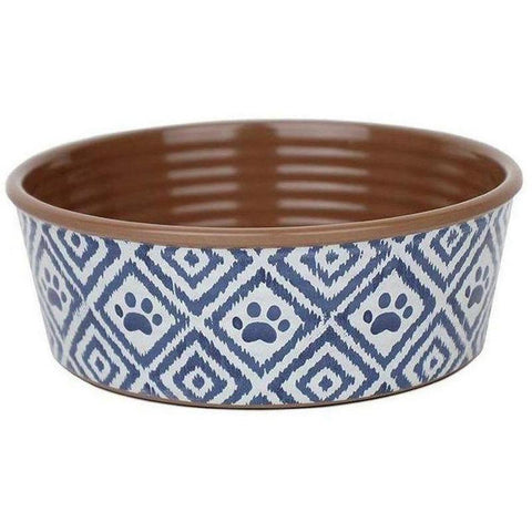 Paw Ikat Dog Bowls - Indigo - Furevables Pet Boutique