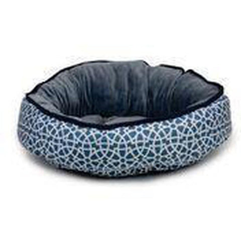 Barkley & Bella - Marrakesh Steel Blue  Reversible Plush Bedding - Furevables Pet Boutique