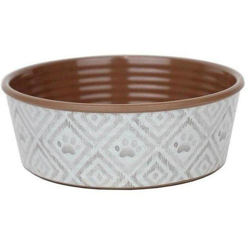 Paw Ikat Dog Bowls - Natural - Furevables Pet Boutique