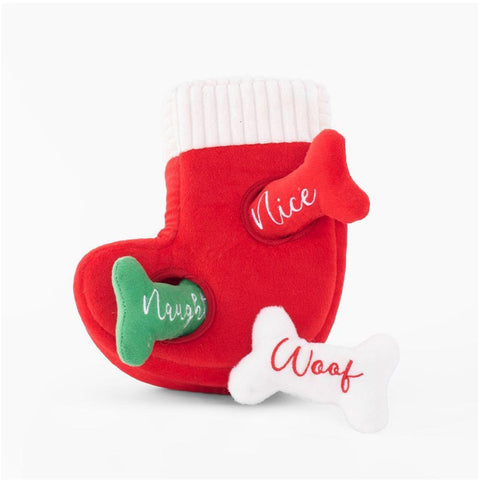 Furevables Pet Boutique - Zippy Paws Holiday Burrow Naughty or Nice Stocking