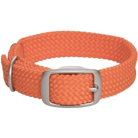 Mendota Double Braid Small Dog or Puppy Collars - Orange with Satin Hardware - Furevables Pet Boutique