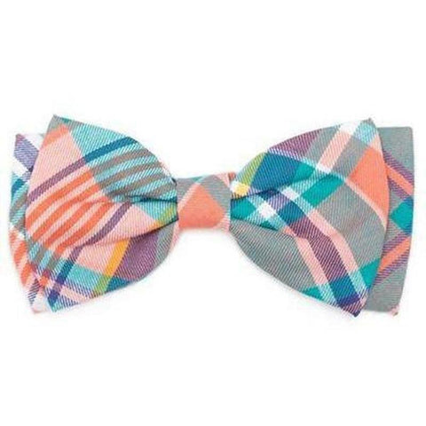 Peach Multi Plaid Bowtie - Furevables Pet Boutique
