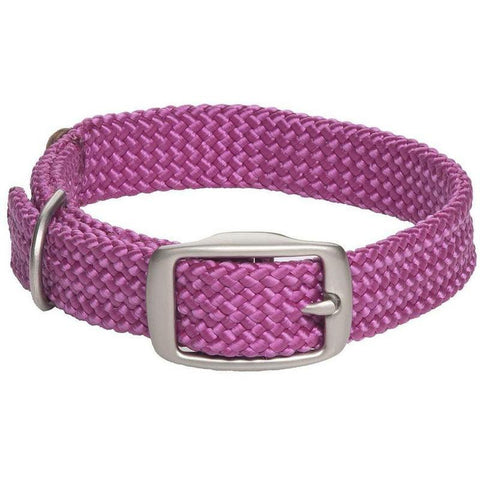 Mendota Double Braid Small Dog or Puppy Collars - Raspberry with Satin Hardware - Furevables Pet Boutique