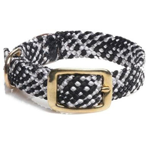 Mendota Double Braid Small Dog or Puppy Collars - Salt n Pepper Brass Hardware - Furevables Pet Boutique