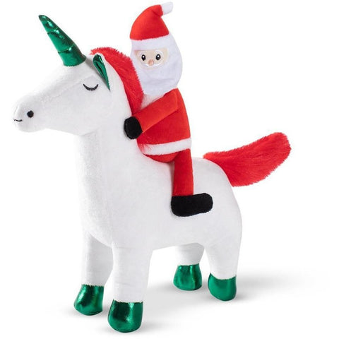 Santa Unicorn Plush Dog Toy - Furevables Pet Boutique