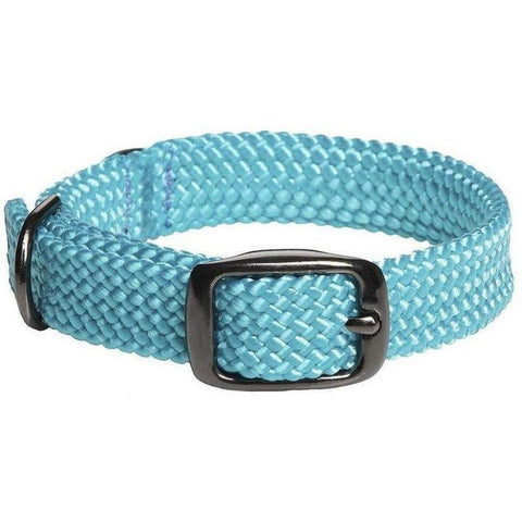 Mendota Double Braid Small Dog or Puppy Collars - Turquoise and Black Hardware - Furevables Pet Boutique