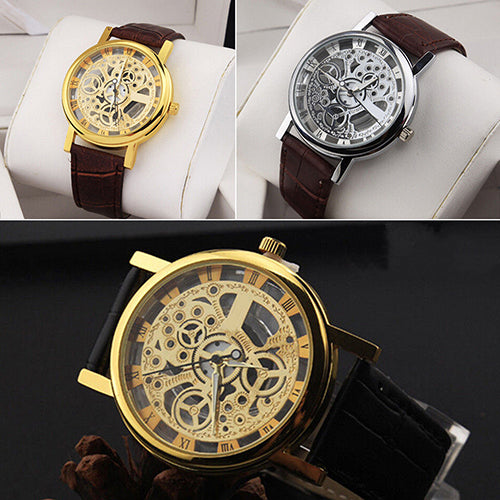 Vintage Skeleton Leather Wristwatch