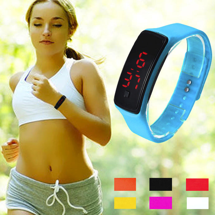Silicone Women's LED Digital Sports WristWatch