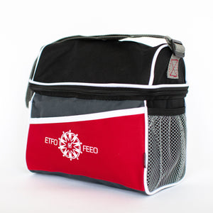 A red ETFO Lunch Kozie Bag