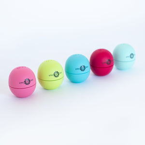 A variety of EOS Smooth Sphere Lip Balm with the ETFO logo in various colors