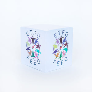 A Paper Cube with the ETFO logo