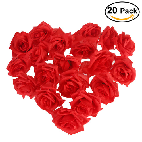 NUOLUX 20pcs Artificial Curving Brim Rose Flower Craft Home Wedding Christmas Party Decoration (Red)