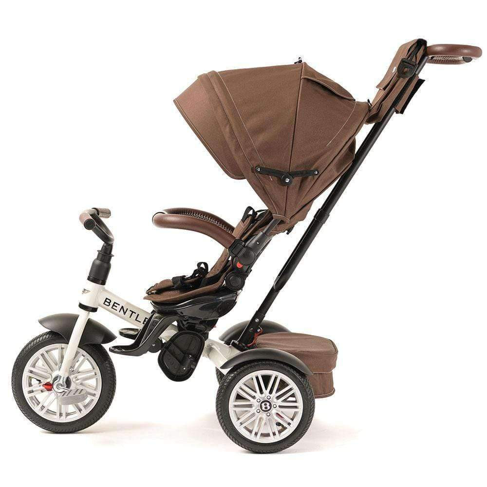 WHITE SATIN BENTLEY 6 IN 1 STROLLER TRIKEs - Luxury Bentley Trikes with Push Handle