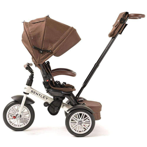WHITE SATIN BENTLEY 6 IN 1 STROLLER TRIKE - Luxury Bentley Trike with Push Handle