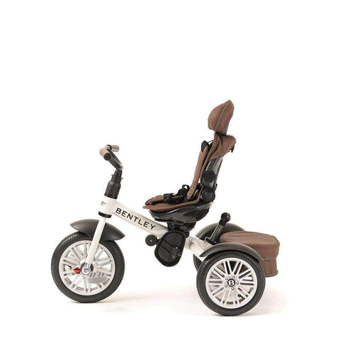 WHITE SATIN BENTLEY 6 IN 1 STROLLER TRIKE - Convertible Bentley Trike with Push Handle