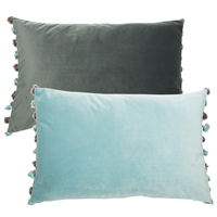 Velvet Cushion - Seafoam and Grey