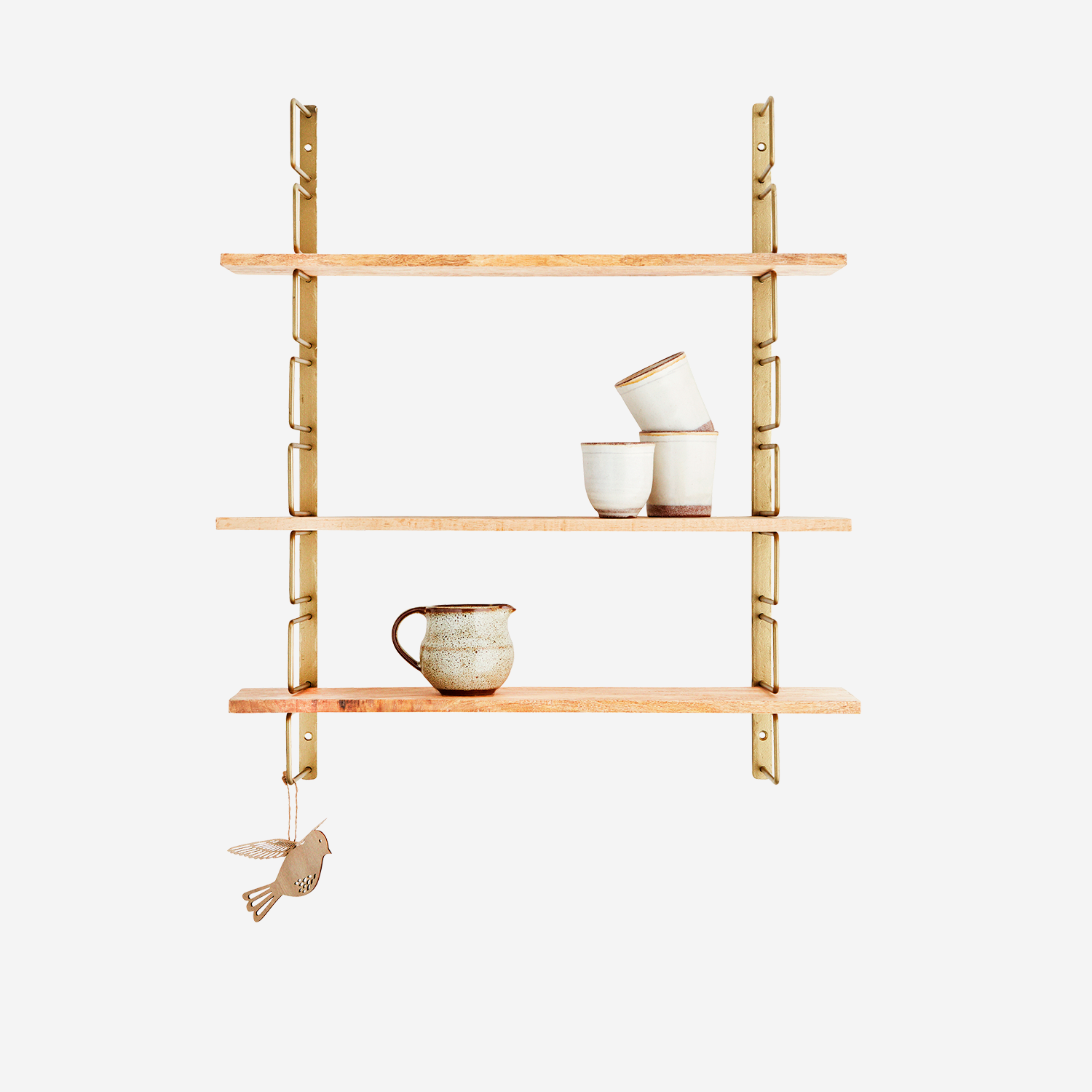 Madam Stoltz Brass and Wood Shelf Unit