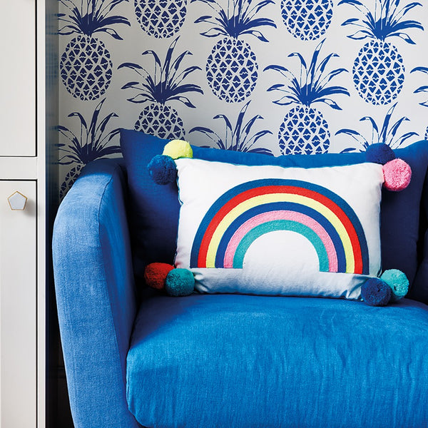 Rainbow Embroidered Cushion With Pom Poms