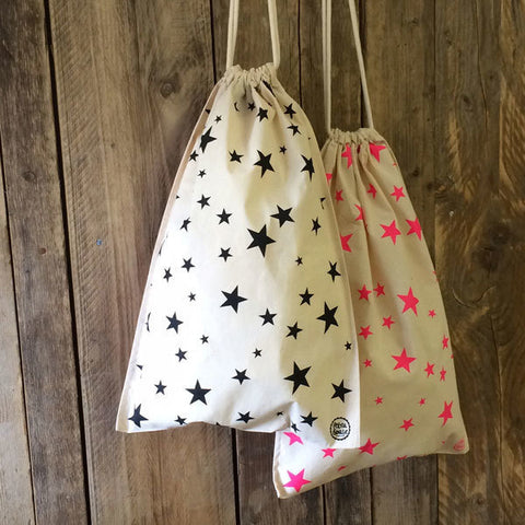 Fairtrade Star Print Drawstring Bag Black