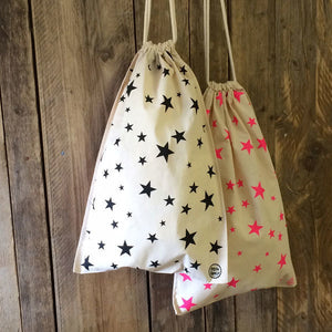 Fairtrade Star Print Drawstring Bag Pink